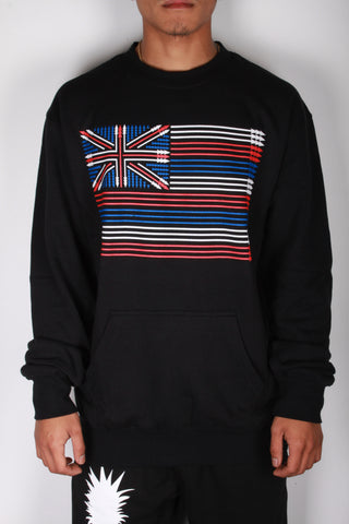 DH ! SPEAR FLAG CREWNECK SWEATER W/ POUCH POCKETS  BLACK RED/WHT/BLUE
