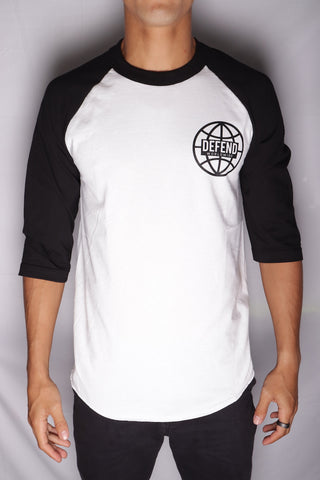 DH ! WORLDWIDE 3/4 SLEEVE RAGLAN  BLK/WHT