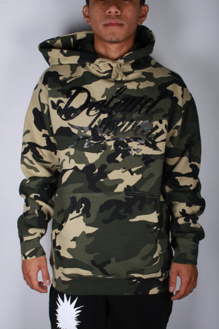 DH ! WILDSTYLE LOGO PULL-OVER HOODY  WOODLAND CAMO/SHINY BLACK