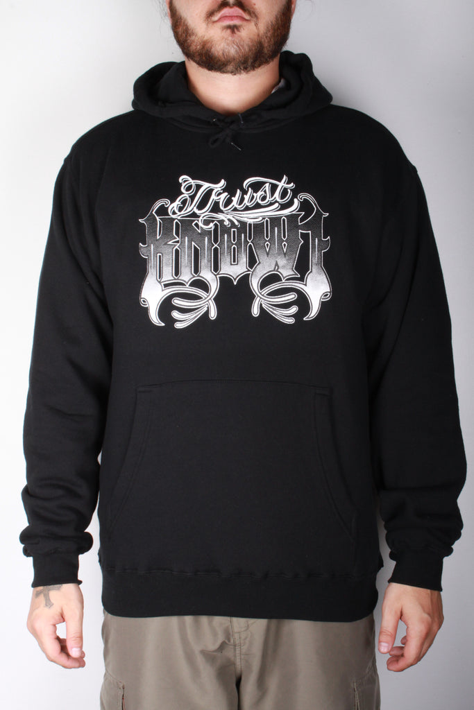 K1 ! TRUST KNOW1 PULLOVER HOODY  BLACK WHT/GRY/BLK