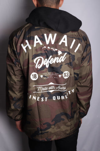 DH ! WITH ALOHA NYLON COACHES JACKET W/ FLEECE HOOD  CAMO/WHT