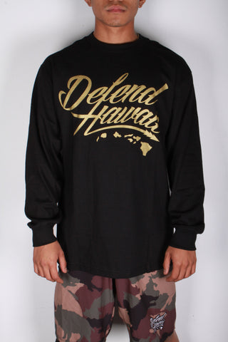 DH ! WILDSTYLE LOGO LONG SLEEVE  BLACK/GOLD.SHIMMER