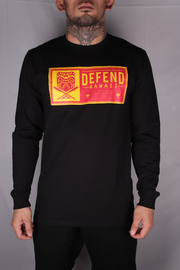 DH ! TIKI PATCH PREMIUM LONGSLEEVE  BLACK RED/DRK.YLW
