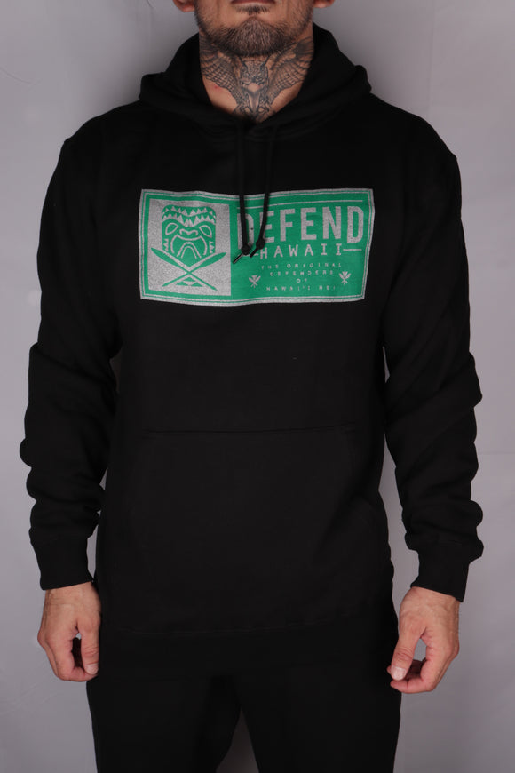 DH ! TIKI PATCH 8.25oz PULLOVER HOODY  BLACK GRN/SLVR