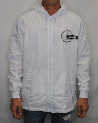 LOKAHI White Zip Nylon Coaches Jacket