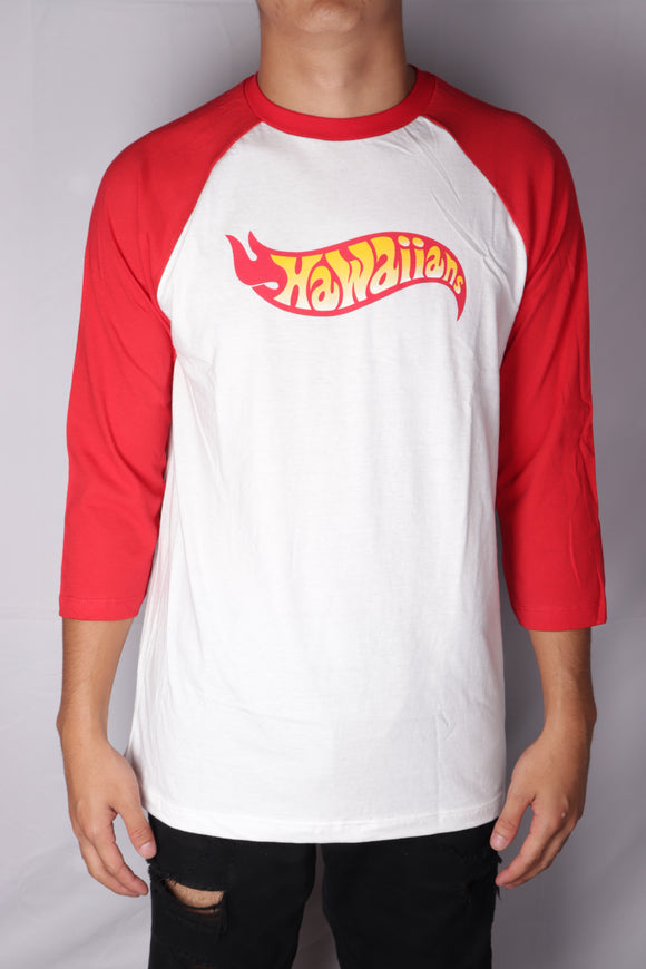 DH ! HOT HAWAIIANS 3/4 SLEEVE RAGLAN  WHITE/RED RED/YLW/WHT