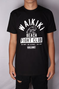 DH ! WAIKIKI BEACH FIGHT CLUB PREMIUM TEE  BLACK/WHITE