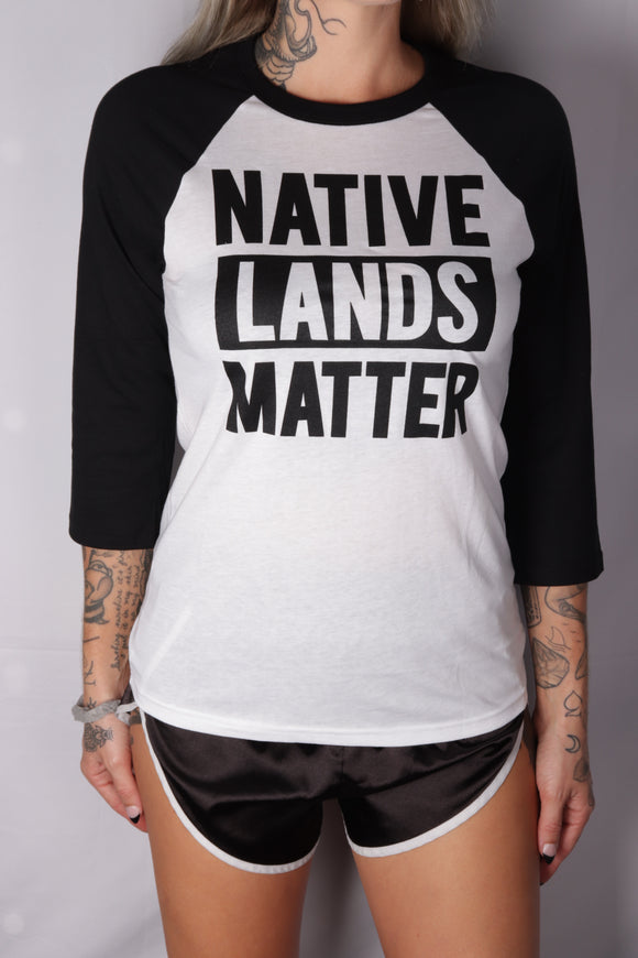 DH ! WOMENS NATIVE LANDS MATTER 3/4 SLEEVE RAGLAN  WHT/BLK BLACK