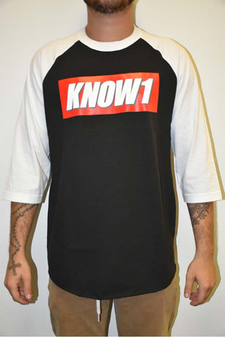 K1 ! KNOW1 BOX LOGO RAGLAN  BLK/WHT WHT/GRY/RED