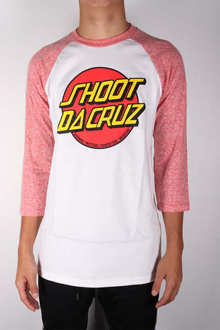 DH ! SHOOT DA CRUZ 3/4 SLEEVE RAGLAN  WHT/RED YLW/RED/BLK