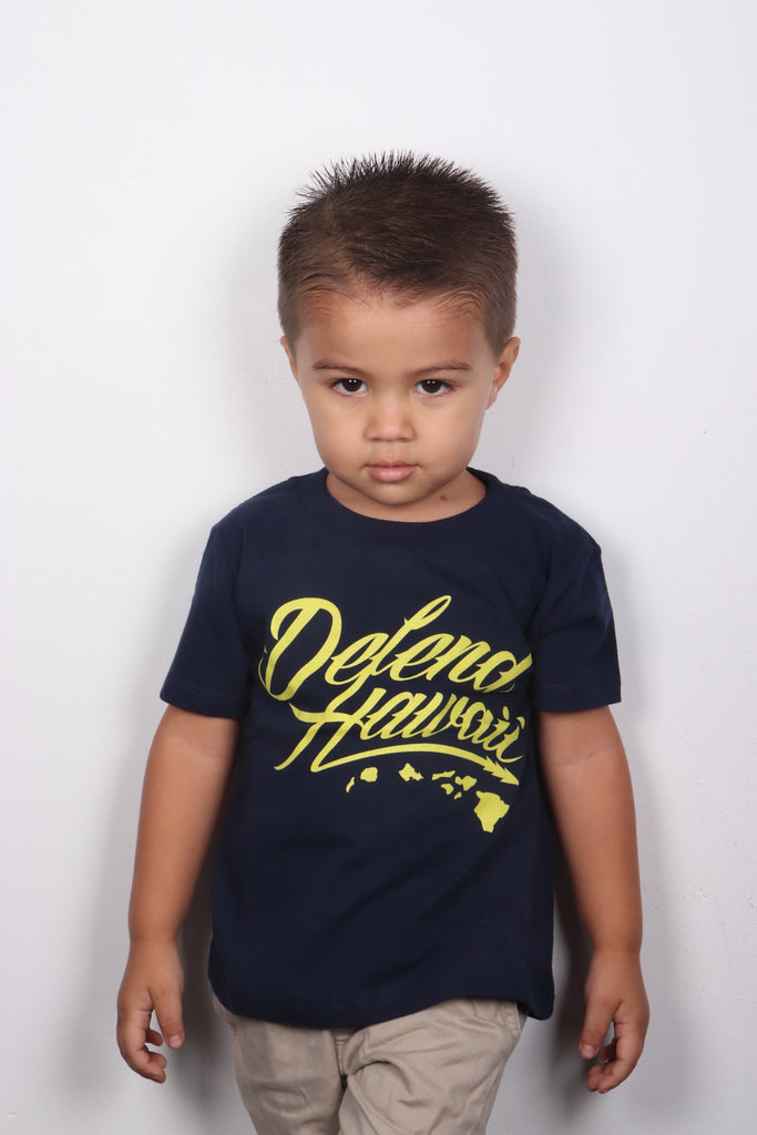 DH ! WILDSTYLE LOGO KIDS PREMIUM TEE  NVY/YLW