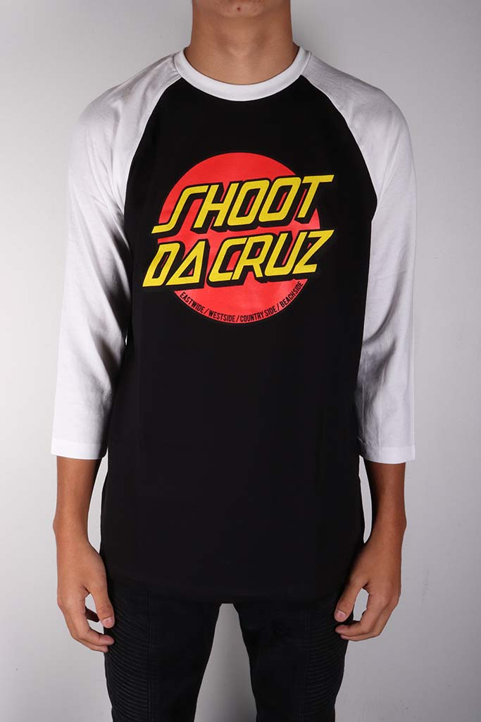 DH ! SHOOT DA CRUZ 3/4 SLEEVE RAGLAN  BLK/WHT YLW/RED/BLK