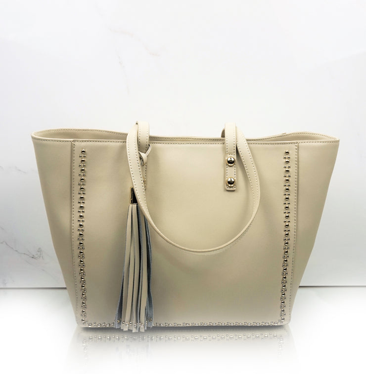 Cream Berlin tote with gold micro-stud details tassle