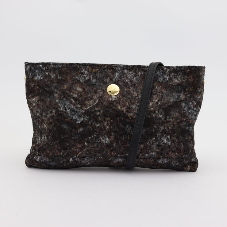 Brooke chocolate petals printed suede