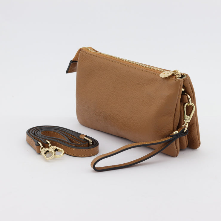 Evie caramel pebbled leather
