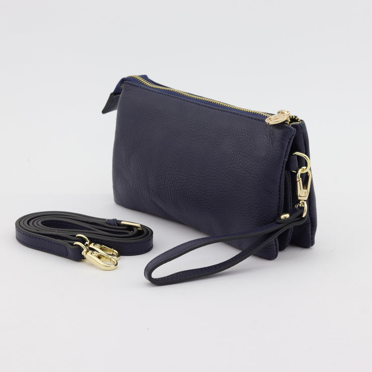 Evie navy pebbled leather