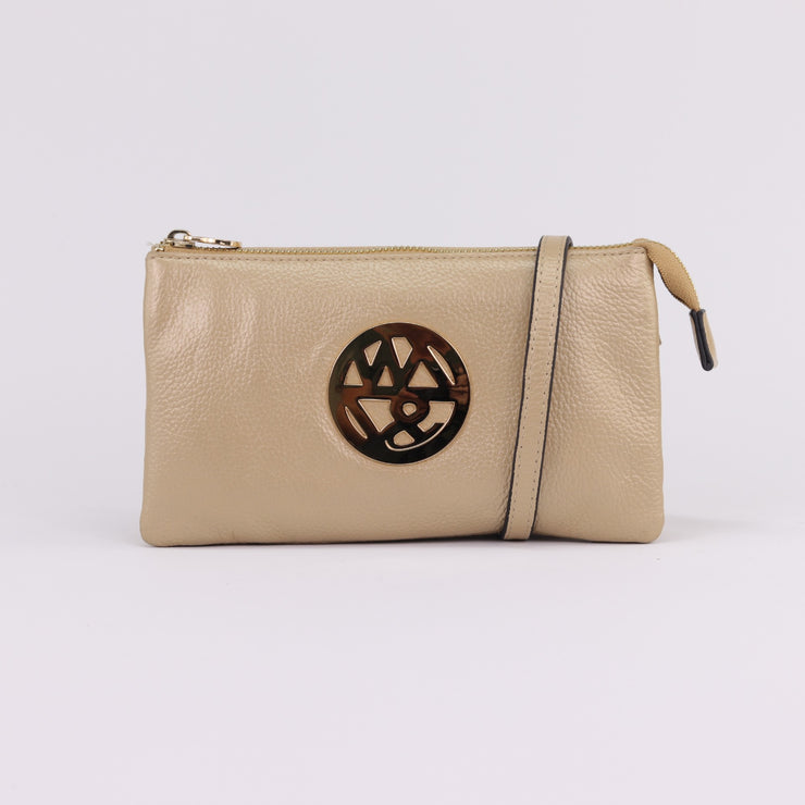 Willow & Zac Katie blonde pebbled leather clutch crossbody