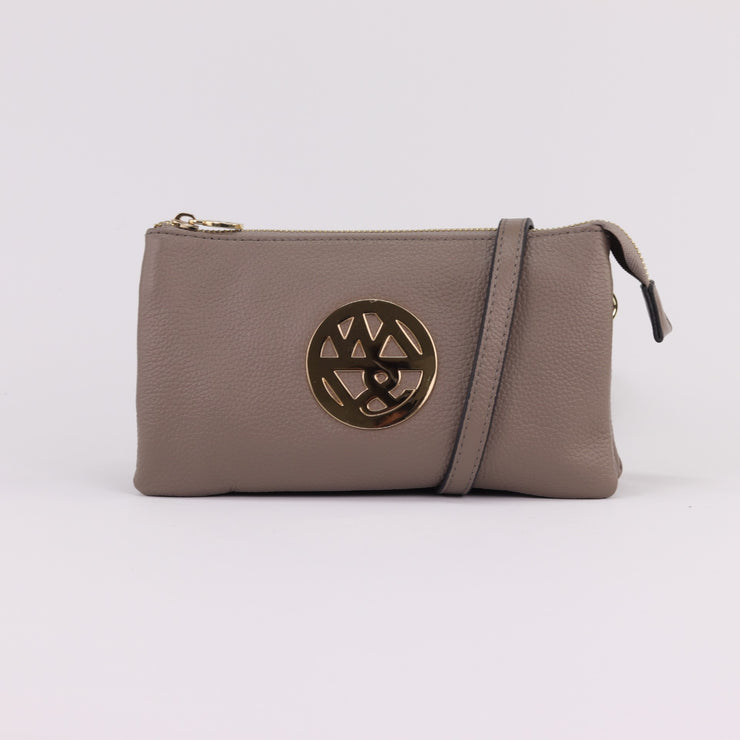 Willow & Zac Katie fog pebbled leather clutch crossbody
