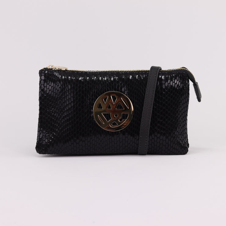 Willow & Zac Katie jet printed suede clutch crossbody