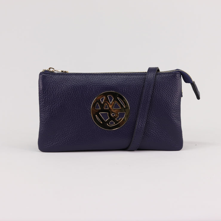 Willow & Zac Katie navy pebbled leather clutch crossbody