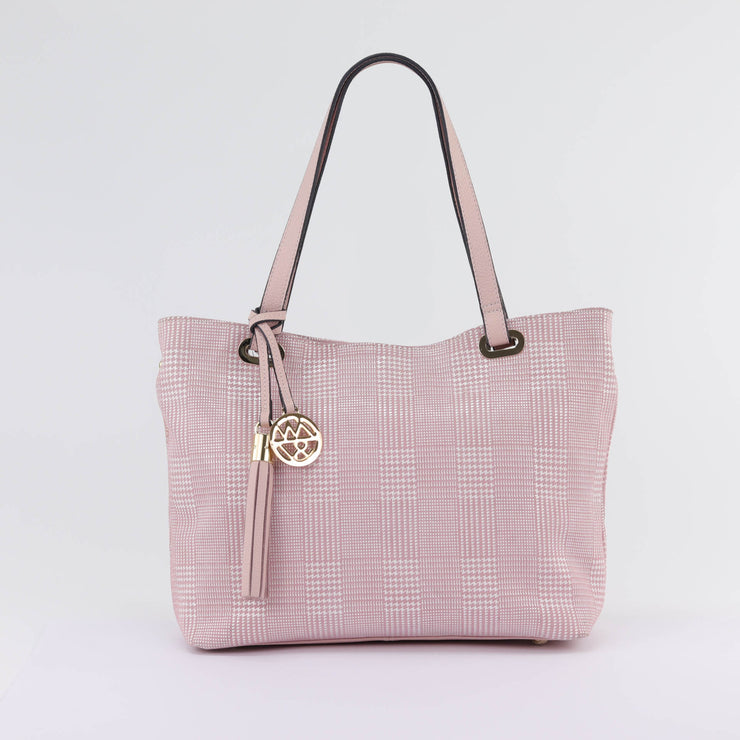 Willow & Zac Kiera pink plaid printed suede leather handbag carried by model