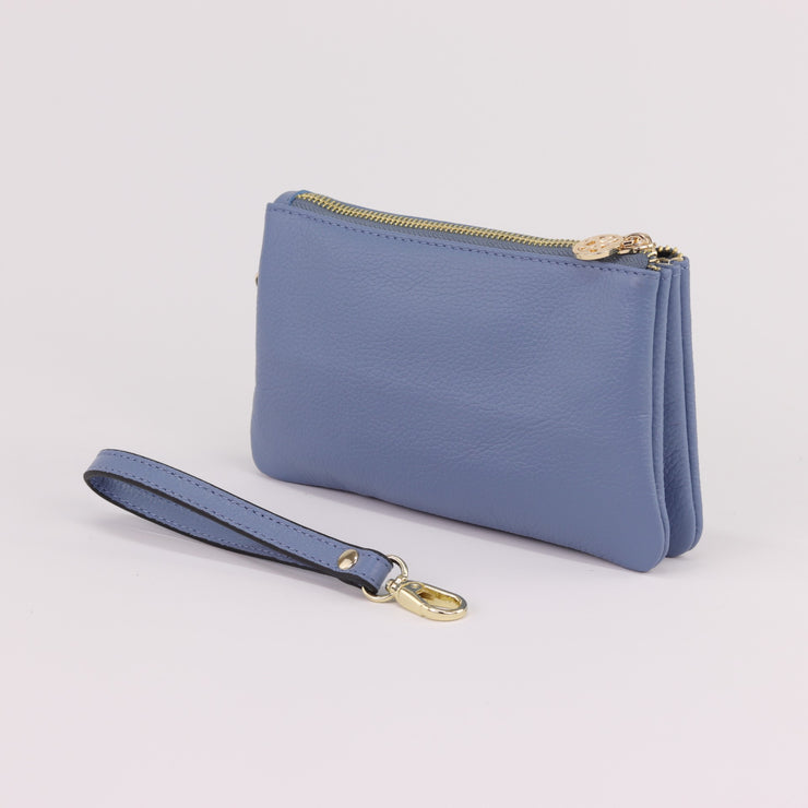 Polly serene blue pebbled leather