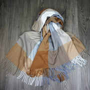 soft acrylic scarf in toffee grey white check pattern with fringing