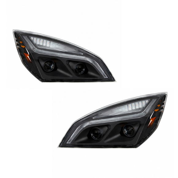 (18248) Freightliner Cascadia Black LED Projector Headlights (2018+)