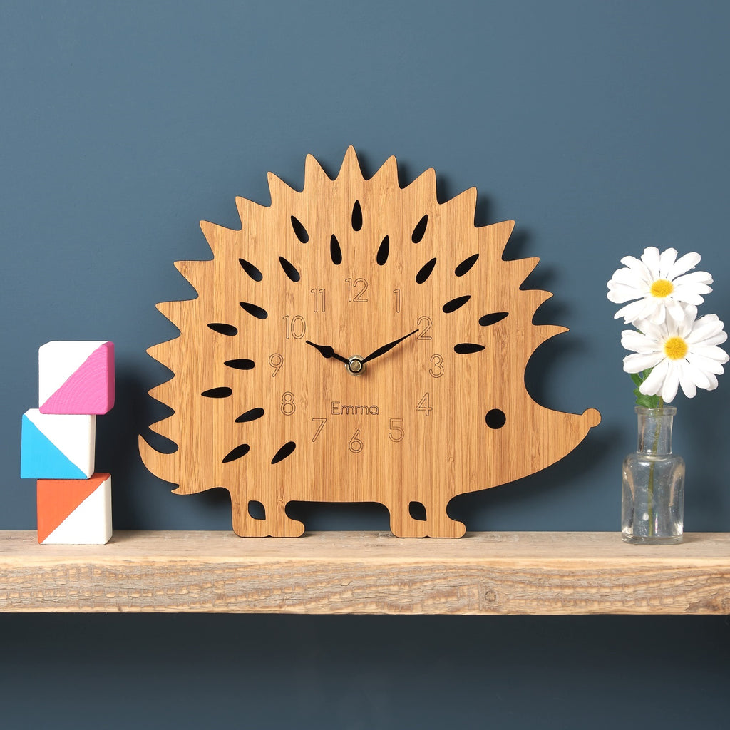 Wooden Hedgehog Clock
