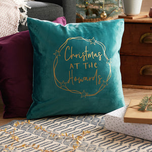 Personalised Christmas At The Luxury Velvet Cushion