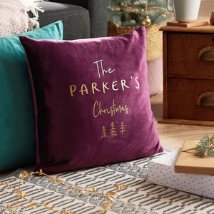 Personalised Family Christmas Velvet Cushion