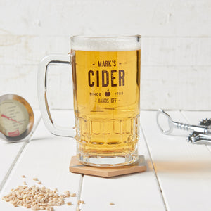 Personalised Glass Beer Tankard