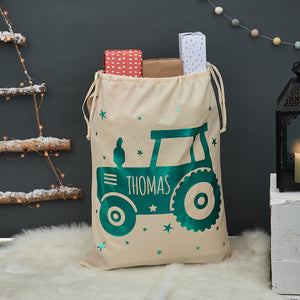 Personalised Tractor Christmas Sack