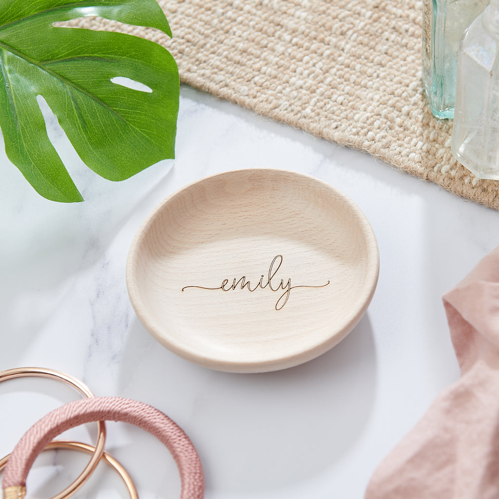 Personalised wooden jewellery dish