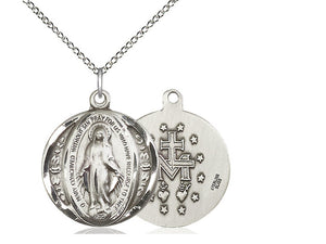 Miraculous Round Silver Pendant With Chain