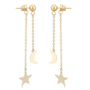 14K Gold Star And Moon Dangle Earrings