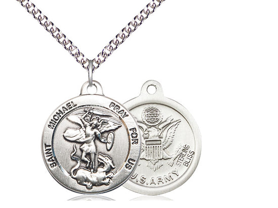 Saint Michael United States Army Medal With 24 Inch Silver Curb Chain Religious