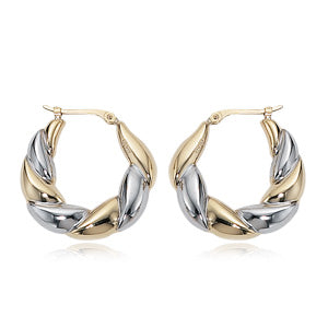 14K Yellow And White Gold Twist Hoop Earring