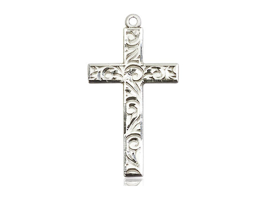 Hand Engraved Silver Cross With Chain Religious