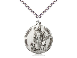Saint Hubert Silver Pendant With 24 Inch Silver Chain Religious