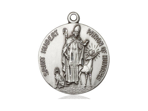 Saint Hubert Silver Pendant With 24 Inch Silver Chain
