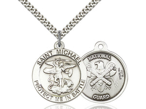 Saint Michael National Guard Silver Pendant With Chain