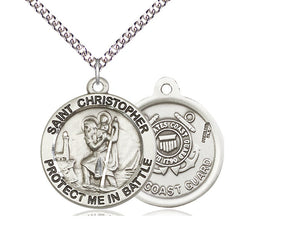 Saint Christopher Pendant With 24 Inch Chain Coast Guard Religious