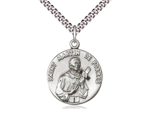 Saint Martin De Porres Silver Pendant And Chain