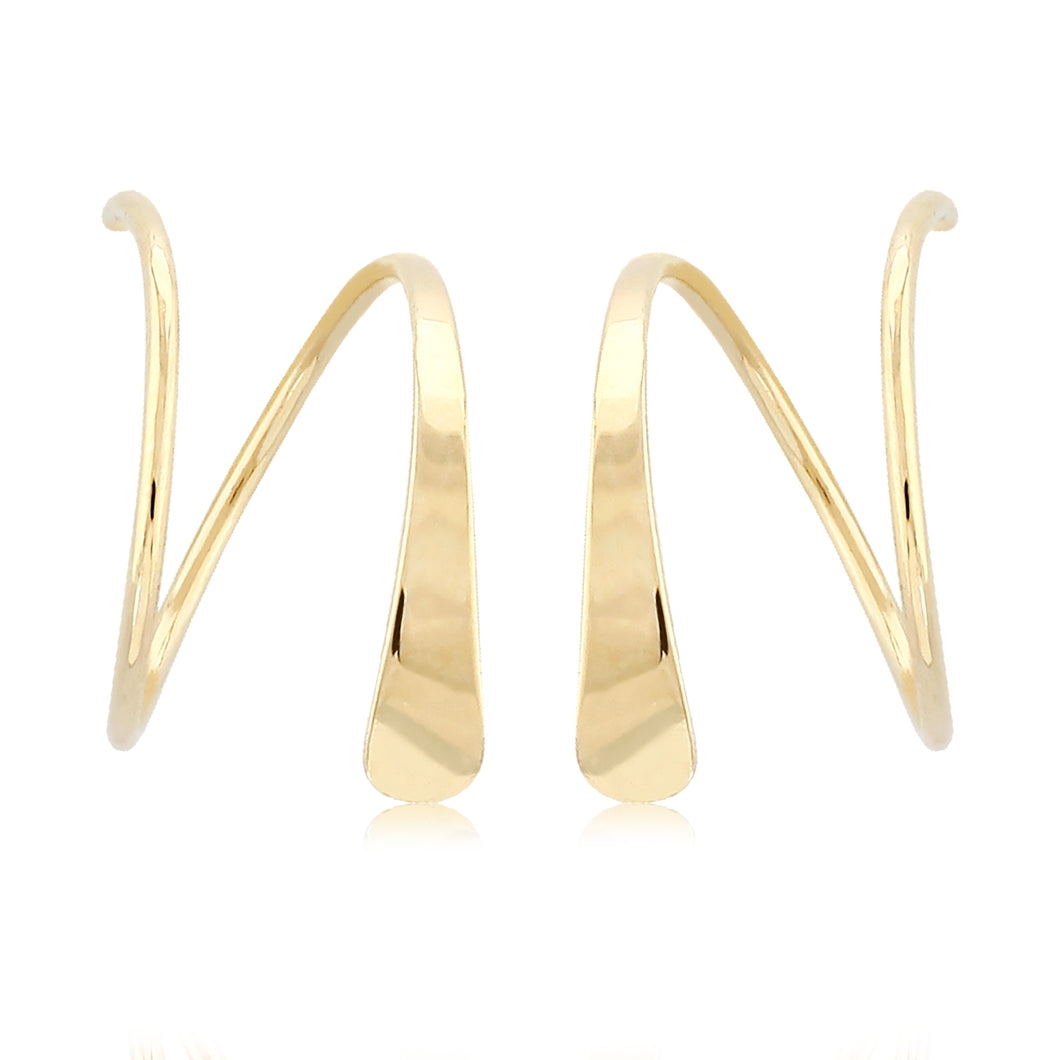 14K Yellow Gold Wire Cuff Earrings