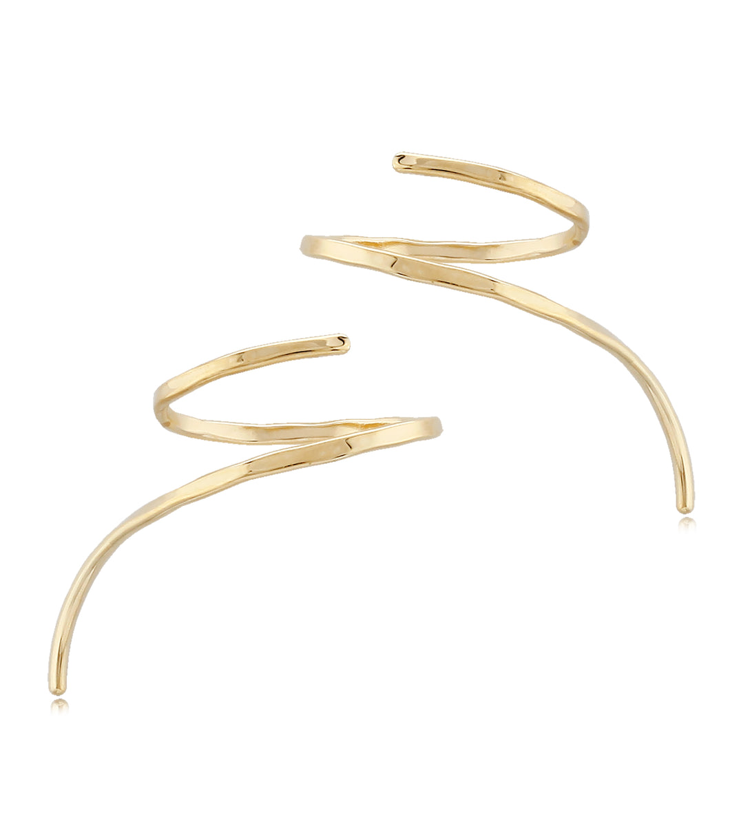 Gold Wire Weave Climber Earring