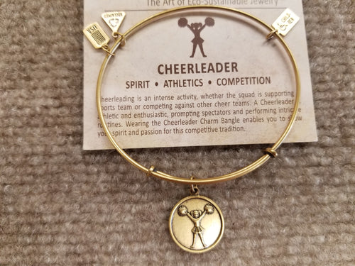 Cheerleader Expandable Brass Charm Bracelet
