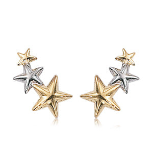 White And Yellow Gold Triple Star Drop Earrings