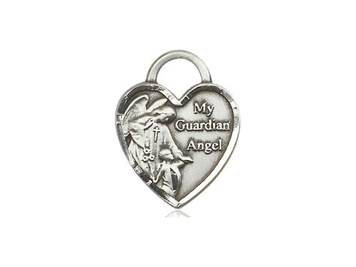 Guardian Angel Silver Heart Pendant With Chain Religious
