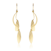 Load image into Gallery viewer, Gold Double Leafed Dangling Earrings